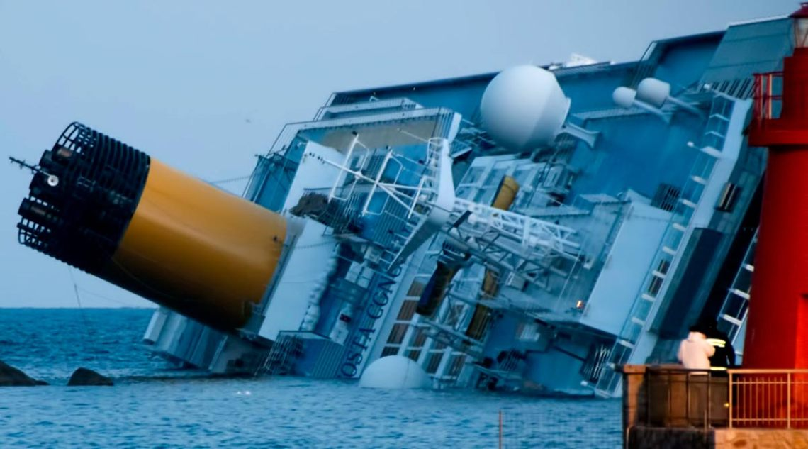 Costa Concordia disaster off the coast of Italy, 2012. (Wikimedia Commons)