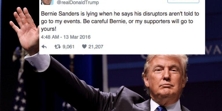 Donald Trump Just Tweeted Out A Disturbing Threat To BernieSanders