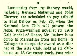 Bellow 1978 NAC gold medal NYT announcement
