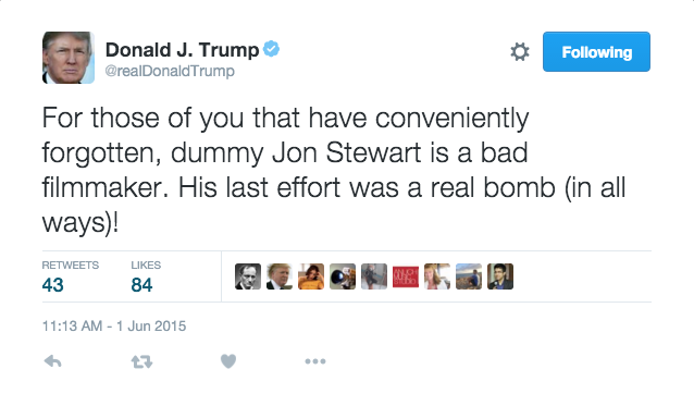 Five Years Of Donald Trump Calling Famous People 'Dummy' On Twitter (Starting With JonStewart)