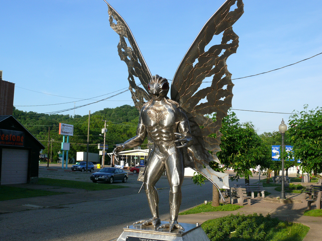 Statue of the Mothman in Point Pleasant, West Virginia via Flickr - Mark Cameron