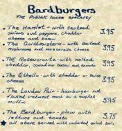 shakespeare menu