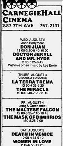 Carnegie Hall Cinema Aug 78 schedule