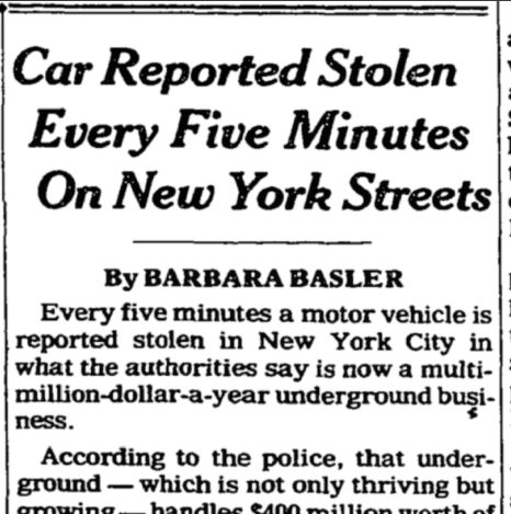 Late September 1978 stolen cars