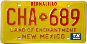 NM 1978 license plate