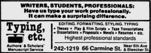 Typing Etc. ad