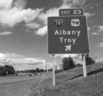 Albany sign bw