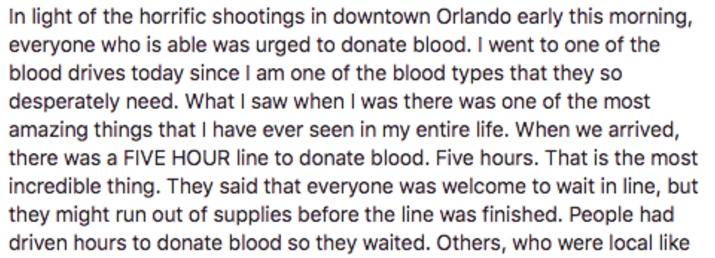 'What I Saw There Was Amazing,' Woman Says About Donating Blood In Orlando The Day Of TheAttack