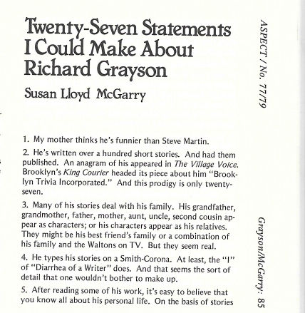 27 Statements Early April 1979