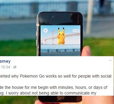 This Inspirational Facebook Post Explains How Pokémon Go Is Helping People Overcome Social Anxiety