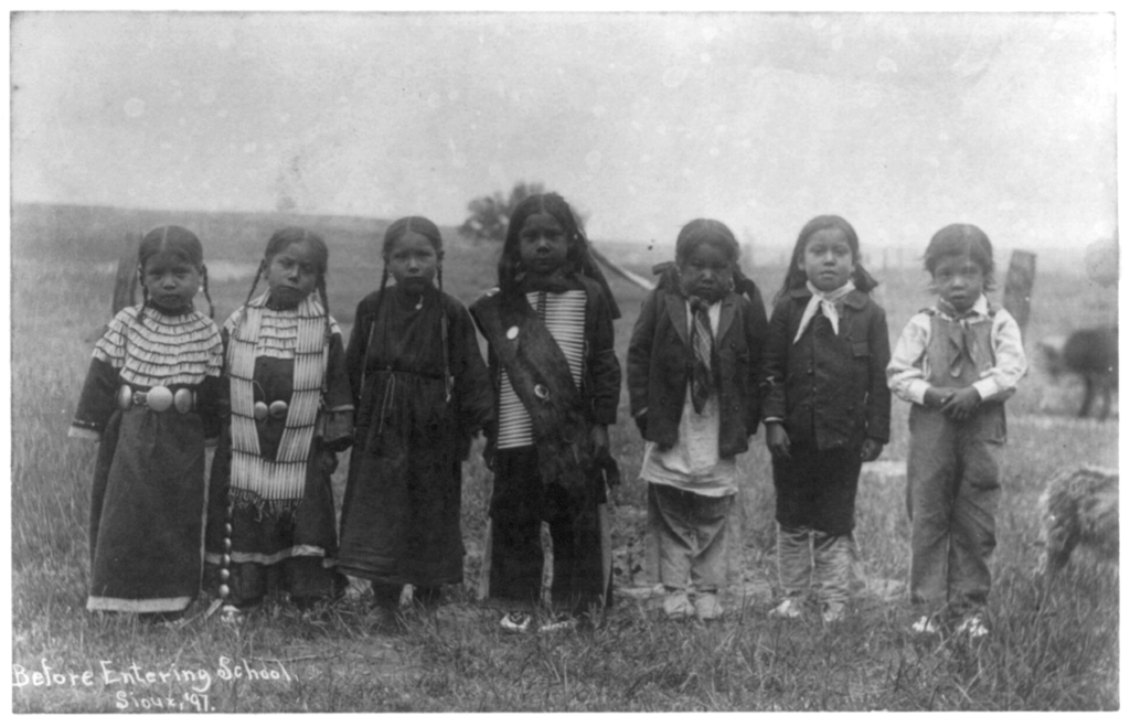 Native American children about to be educated via wiki commons
