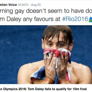 'Christian' Group Says Tom Daley Did Poorly At Olympics Because He 'Went Gay'