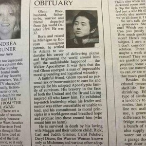 Somebody Sent An Obituary For Walking Dead's 'Glenn' To A Real Newspaper And It's Hilarious