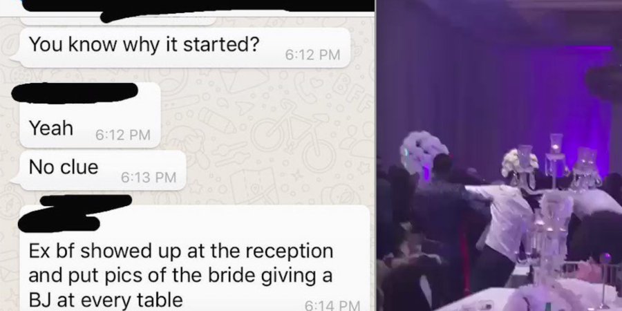 This Dude Brought Pics Of His Ex Giving Him A Blowjob To Her Wedding, Video Shows HUGEFight
