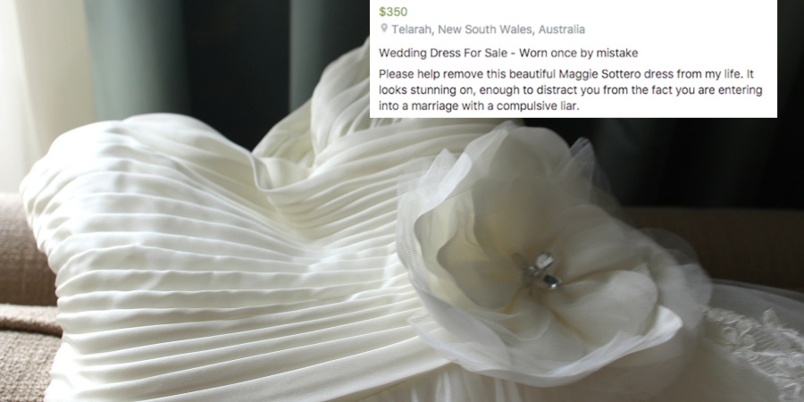 This Woman Is Selling Her Wedding Dress With The Most Savage Facebook AdEver