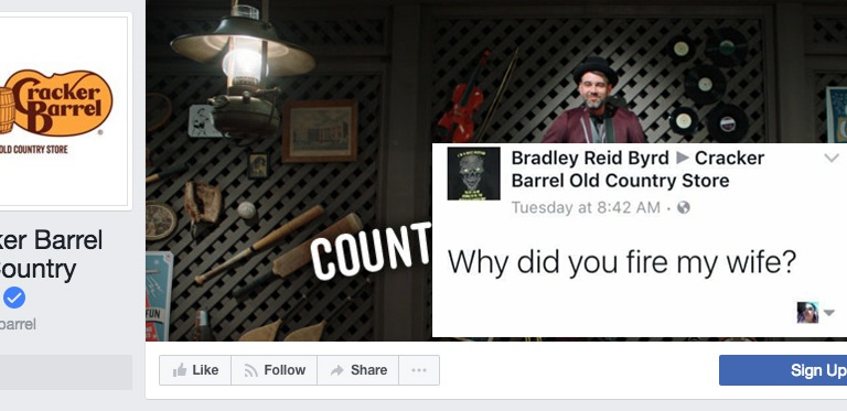 People Are Trolling Cracker Barrel On Facebook And Twitter Because They Fired Brad'sWife