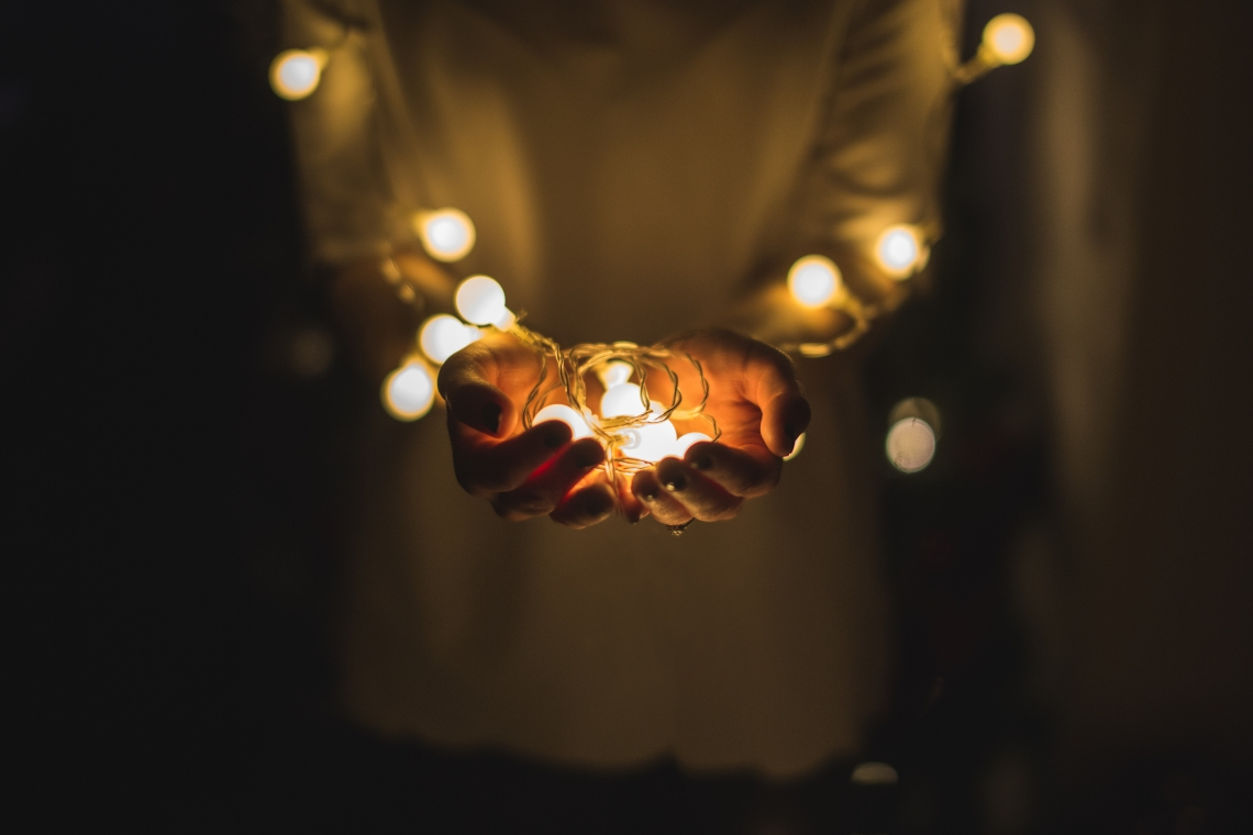 holding lights, thankful, little things, grateful