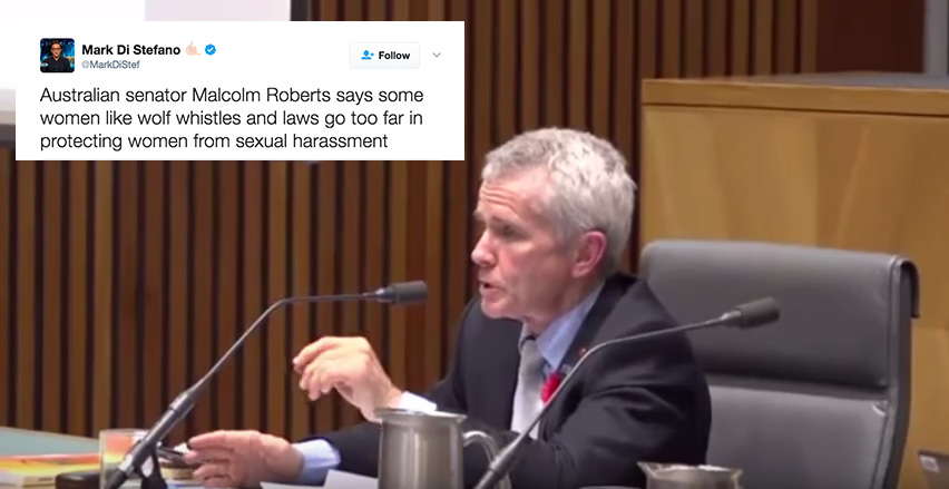 This Senator Just Said Cat-Calling Is A 'Compliment' And People Are Dragging Him On Twitter