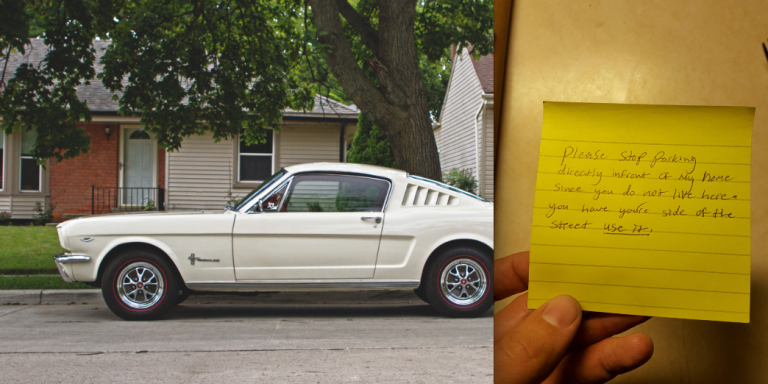 This Guy's Neighbor Left A Nasty Note On His GF's Car And His Response IsHilarious