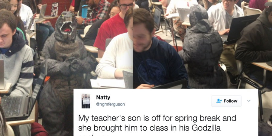 This Teacher Brought Her Son To Class Dressed As Godzilla And People On Twitter Can't Get Over How Cute He Is