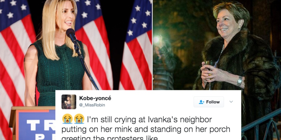 Ivanka Trump's Neighbor Watched Protests With A Glass Of Wine And A Fur Coat And People On Twitter Are Obsessed With Her Pettiness