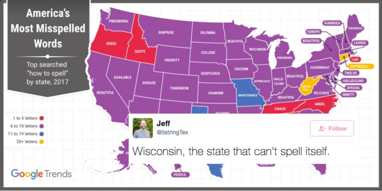 Google Tweeted Out A Map Of The Most Misspelled Word In Each State And It's HilariouslyCringeworthy