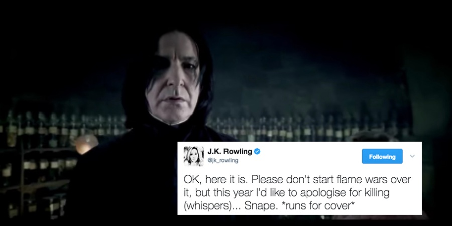 JK Rowling Just Apologized For Snape's Death On Twitter And People Don't Know How To Feel AboutIt