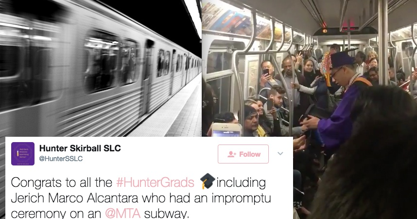 This Guy Missed His Graduation Because Of A Delayed Train, So He Had An Impromptu Ceremony On The SubwayInstead