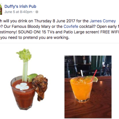 Bars Are Opening Early On Thursday So You Can Watch Comey's Testimony While Drinking Russian Vodka