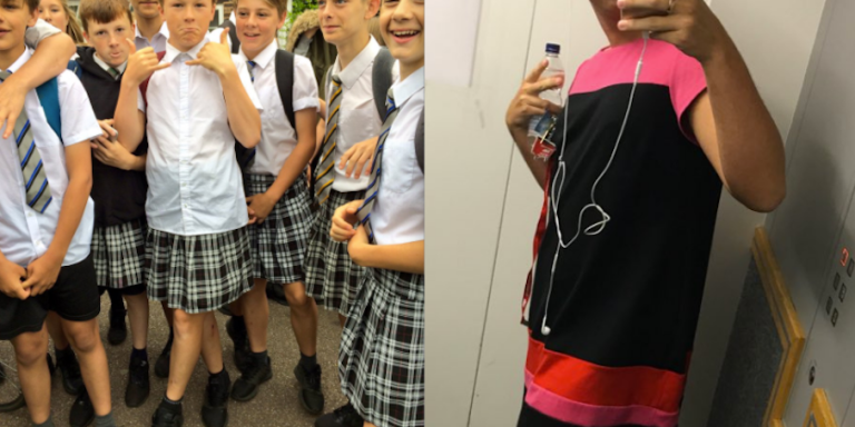 Guys Are Rebelling Against The Dress Code By Wearing Skirts And It's Actually Kind OfWorking