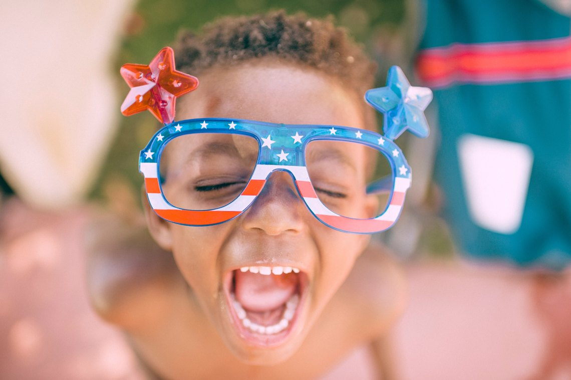 Little boy with 4th of July glasses