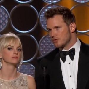 Chris Prattt and Anna Faris at an award show; breaking up
