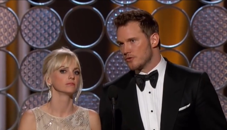 Chris Prattt and Anna Faris at an award show; breaking up