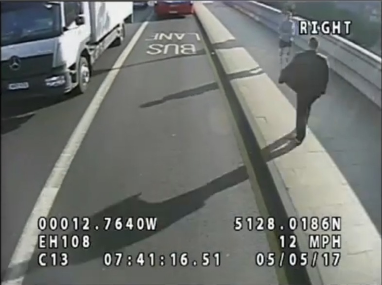 CCTV footage of a jogger who pushed a woman in front of a bus