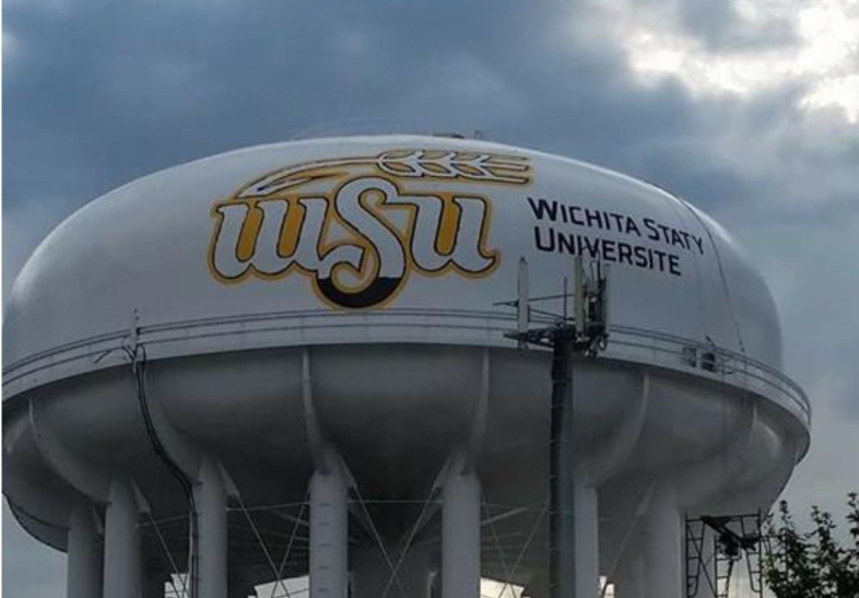 Wichita State University water tower with Mispelled name