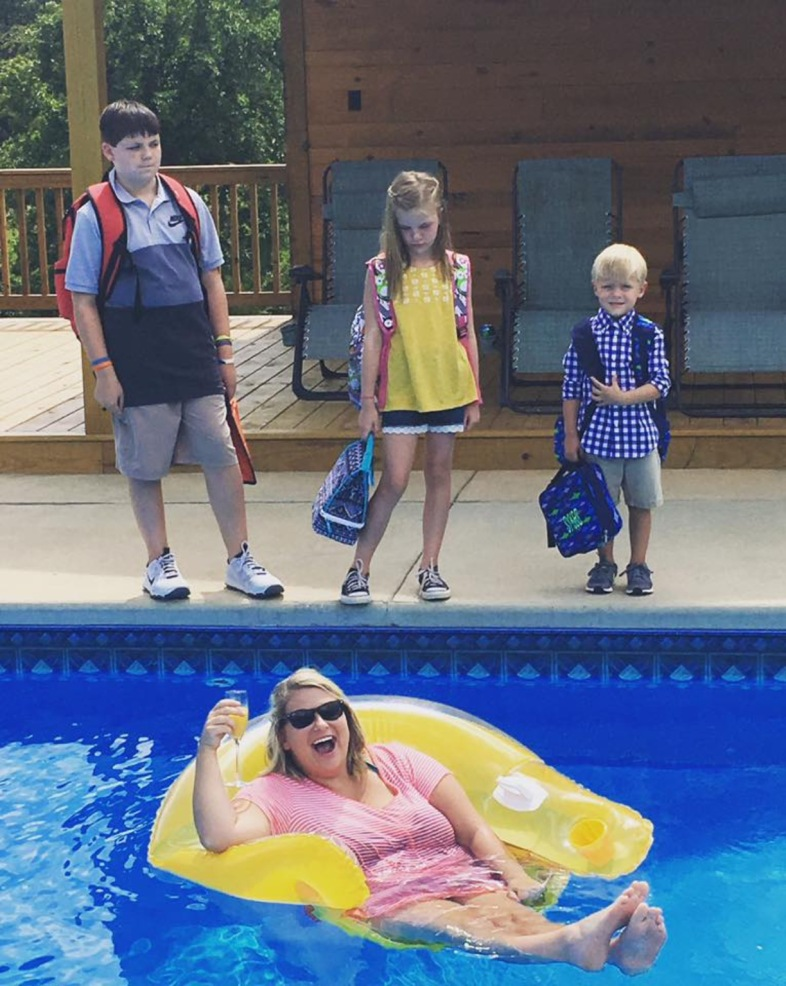 This Mom celebrates the end of the summer in a pool