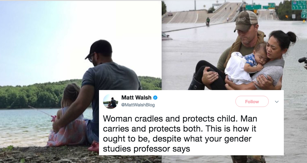 Matt Walsh twitter profile picture, a picture from Hurricane Harvey and a tweet
