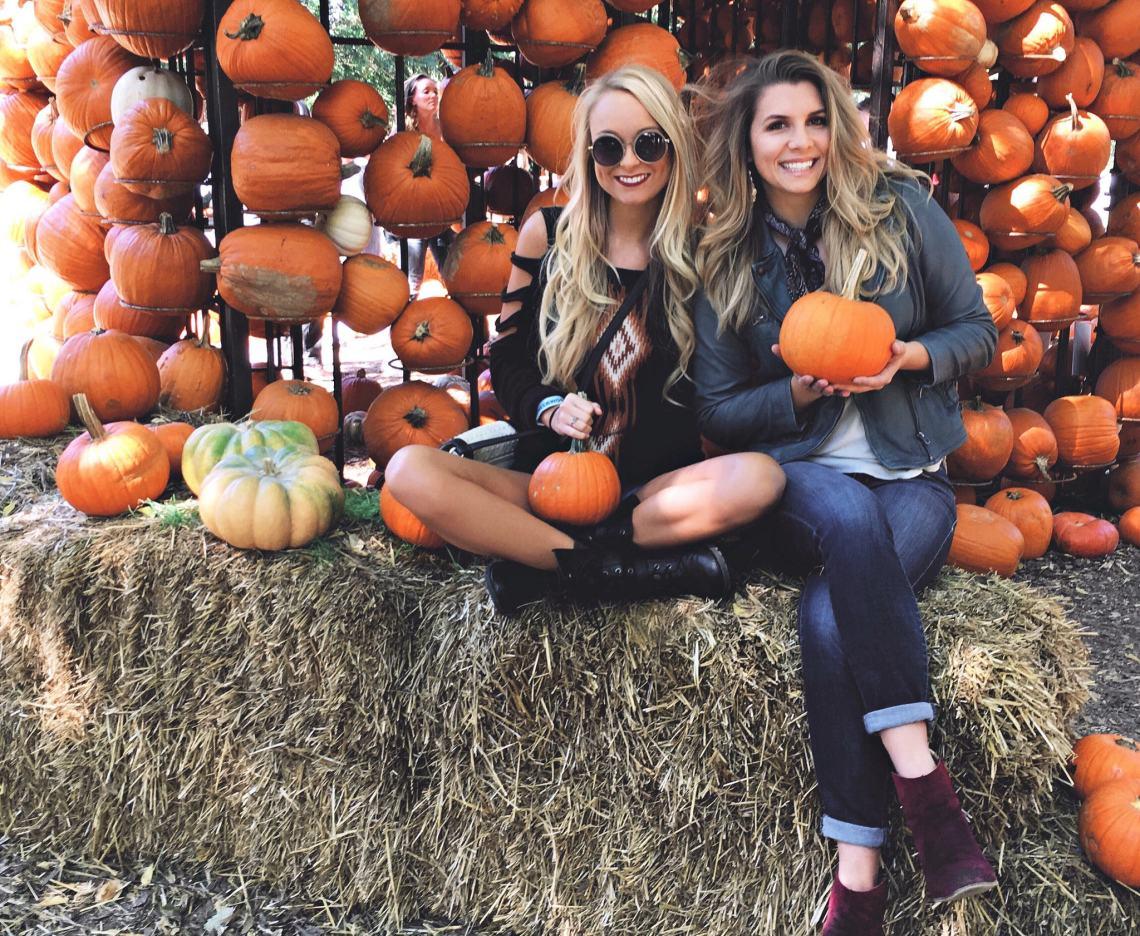 girls with pumpkins