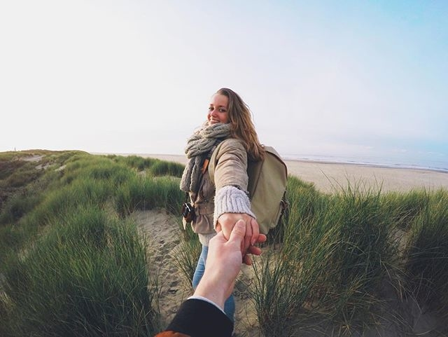 girl holding man's hand, happy couple, choose me