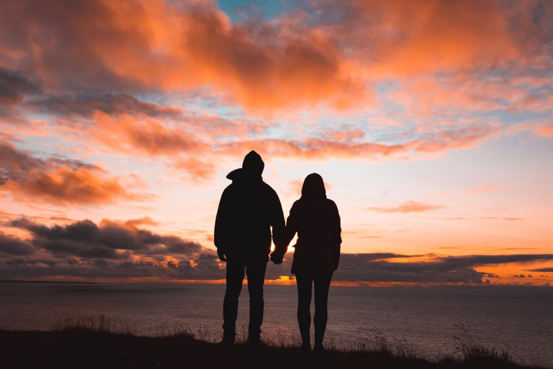 sunset couple in love