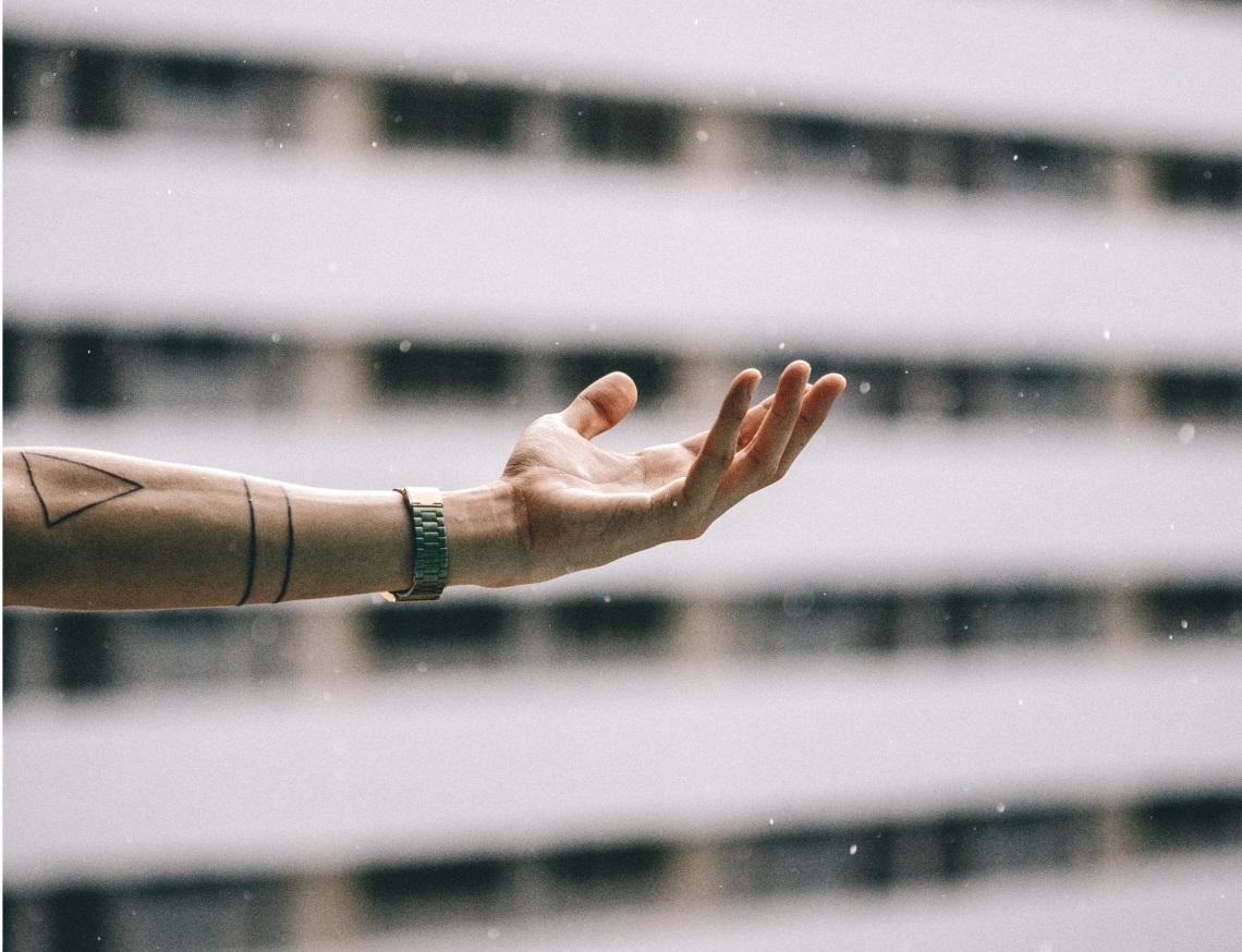 hand reaching up, scars