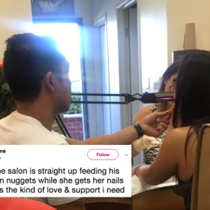 Boyfriend feeds girlfriend chicken nuggets at the salon while she's getting her nails done