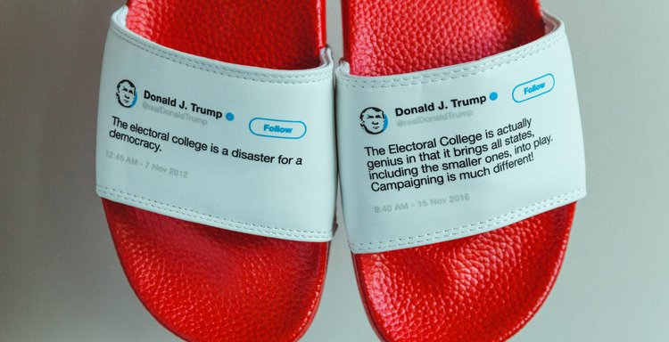 You Can Now Buy Flip Flops With Donald Trump's Contradictory Tweets On Them And We Need A Pair Right This Instant