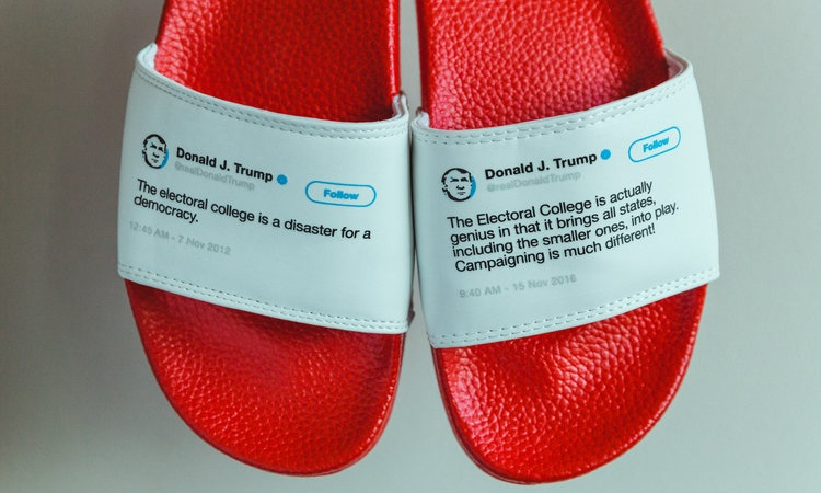 You Can Now Buy Flip Flops With Donald Trump's Contradictory Tweets On Them And We Need A Pair Right ThisInstant