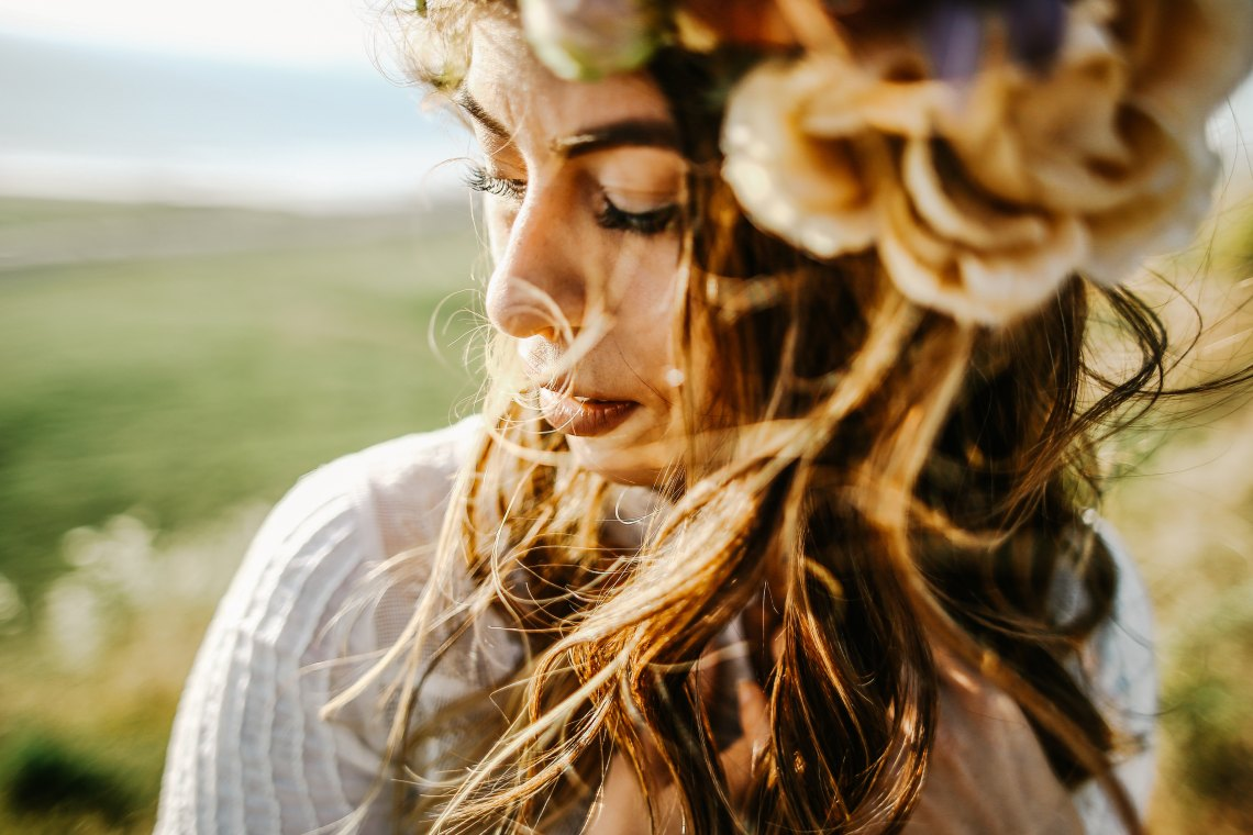 woman with hair blowing in wind