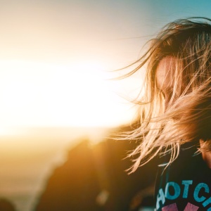 Girl wind in hair
