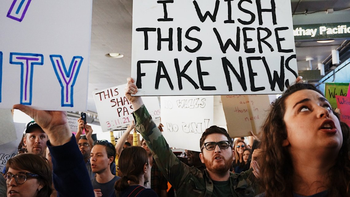 Americans protest fake news or something political