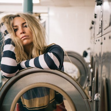 woman in laundromat