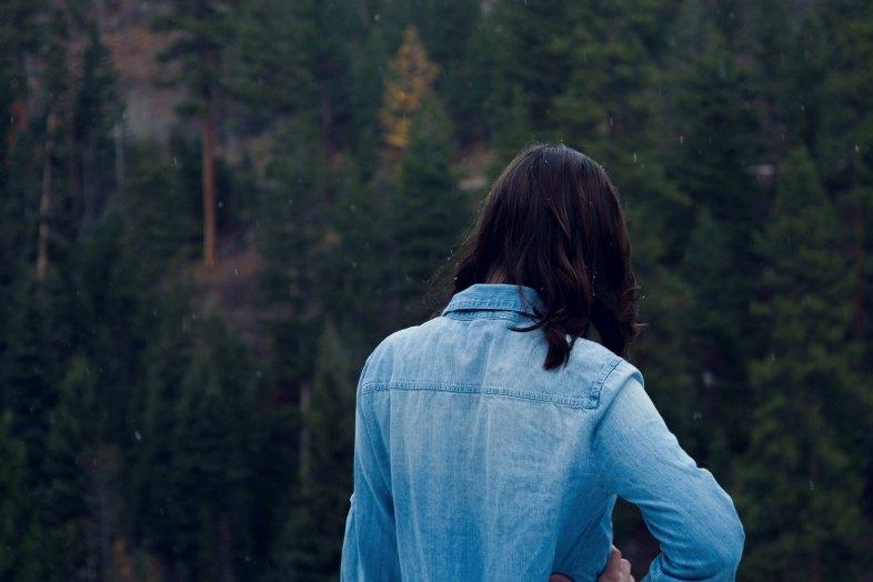 woman in jean jacket