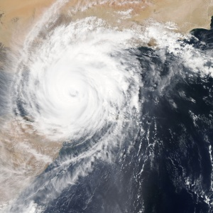A photo of a hurricane from above by NASA